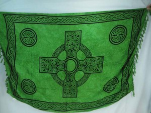 green Celtic cross hippie clothing sarong wrap