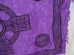purple interlaced knotwork celtic cross sarong