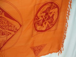 orange triangles women Celtic symbol knots altar clothes sarong wrap