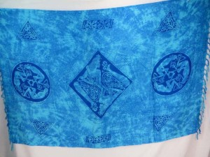 blue triangles women Celtic symbol knots altar clothes sarong wrap
