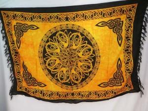orange yellow Celtic symbol knots mandala altar clothes sarong wrap