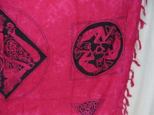 fuchsia triangles women Celtic symbol knots altar clothes sarong wrap