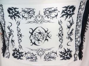 white black tattoo tribal sarong kanga lava-lava