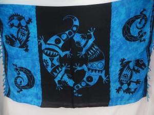 cover-up dress women kanga blue back gecko sarong