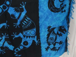 cover-up dress women kanga blue back gecko sarong