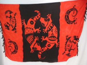 red black gecko primitive sarong skirt pareo beach skirt coverup