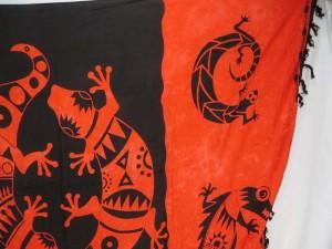 red black gecko primitive sarong skirt pareo beach skirt coverup