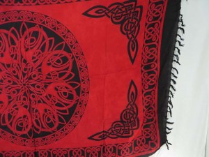 red Celtic knots dresses sarong wrap hippie wall hanging room decor