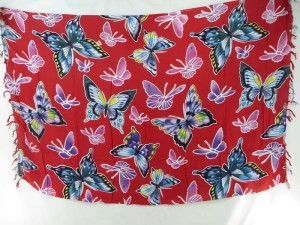 Red Butterfly Sarong Pareos Beach Coverup Sexy Kanga