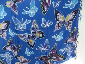 Blue Butterfly Sarong Pareos Beach Coverup Sexy Kanga
