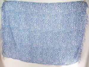 tiny leaves blue on white background sarong