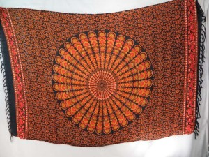 peacock feather mandala sarong orange black bikini swimwear cover up scarf