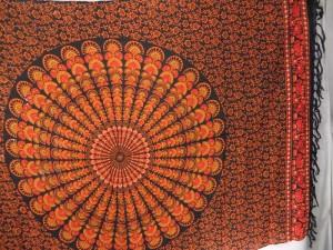 peacock feather mandala sarong orange black bikini swimwear cover up scarf