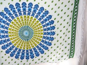 peacock feather blue mandala sarong green border white background