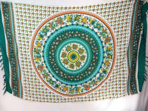 flower mandala sarong teal green edge