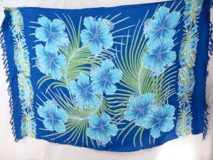 blue hibiscus sarong green palm leaves tahitian beach cover-up