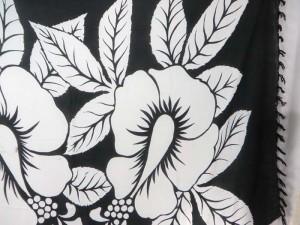 black and white giant hibiscus sarong bikini coverup luau cruise dress