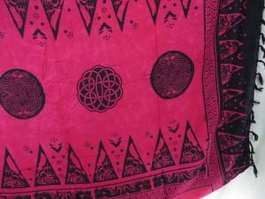 fuchsia celtic circle kanga lava-lava altar cloth wicca pagan wall hanging bedspread