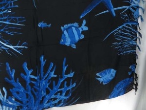 beige background blue sealife sarong