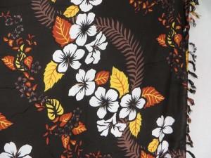 Tropical Floral Hibiscus Cruise Beachwear Brown Black Luau Sarong Wrap Dress Shawl