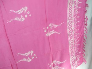 pink monocolor sarong with gecko, flower, turtel, fish, sun, dolphin, seashell, palm trees etc tropical designs