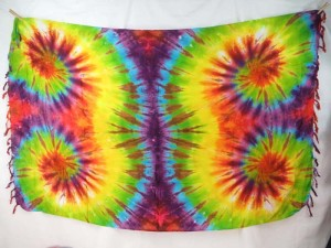 exotic rainbow color double swirl tie dye sarong