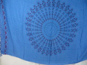 blue peakcock feather mandala sarong