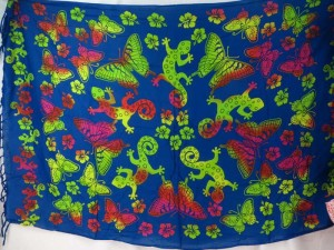 butterfly gecko blue sarong green red pink