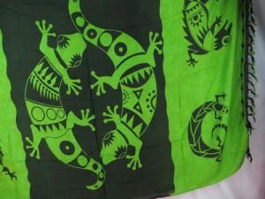 large gecko green black sarong primitive tribe art