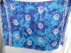 blue monocolor sarong with gecko, flower, turtel, fish, sun, dolphin, seashell, palm trees etc tropical designs