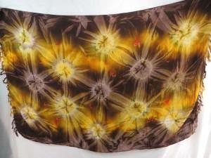 brown yellow star burst tie dye sarong hippie summer beach clothing resort wear