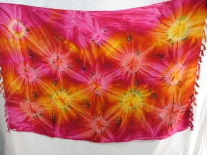 pink red yellow star burst tie dye sarong heppy apparel
