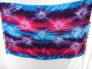 purple blue pink star burst tie dye sarong heppy apparel