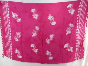 fuchsia monocolor sarong with gecko, flower, turtel, fish, sun, dolphin, seashell, palm trees etc tropical designs