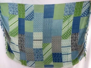 hippie chic sarong blue green patch blocks