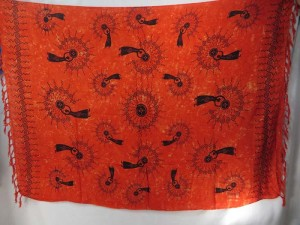 tribal women orange red sarong