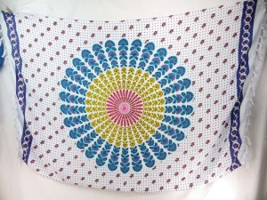 blue yellow peacock feather mandala sarong purple edge