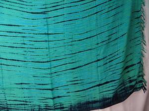 teal green horizontal stripes tie dye sarong