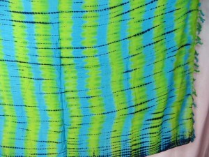 green blue verticle stripes tie dye sarong