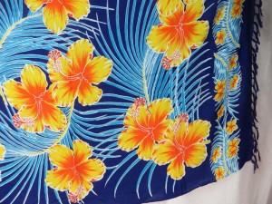 dark blue sarong with yellow orange hibiscus flower blue leaf