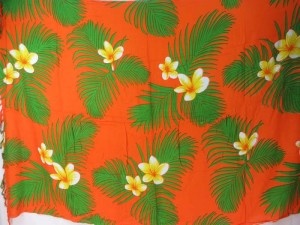 orange sarong yellow plumier flower green leaf