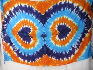 double heart tie dye sarong blue orange purple