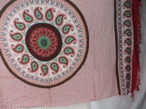 paisley mandala sarong red on white background red edge