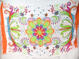 giant flower butterfly sarong orange edge
