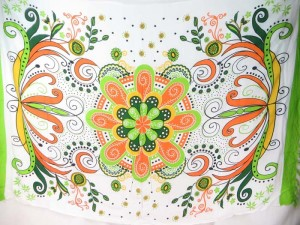 giant flower butterfly sarong green edge