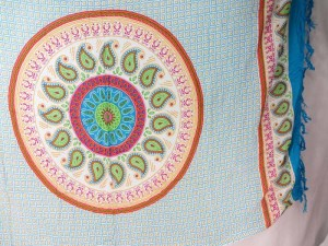 paisley mandala sarong blue on white sarong with turquoise edge