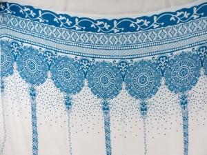 blue bohemian retro vintage print on white sarong