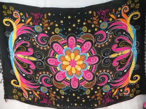 giant floral butterfly black pink sarong