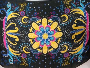 giant floral butterfly black yellow sarong
