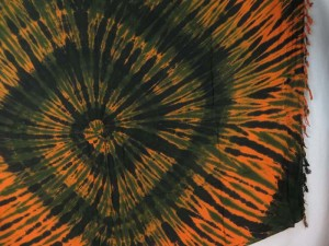 orange black swirl tie dye sarong
